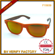 F15939 Mirrored Lens Custom Sunglasses with Bamboo Temples