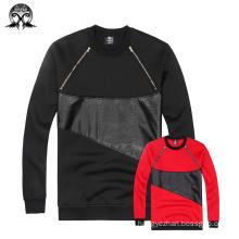 Patch Leather Chest Zipper Sweatshirt