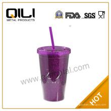 PS, PP, PE pllastic mug doble pared brillo promocionales vaso