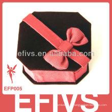 Custume couro de veludo caixa de jóias decorativas com bowknot