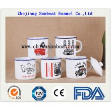 Enamel Milk Mug with Lid