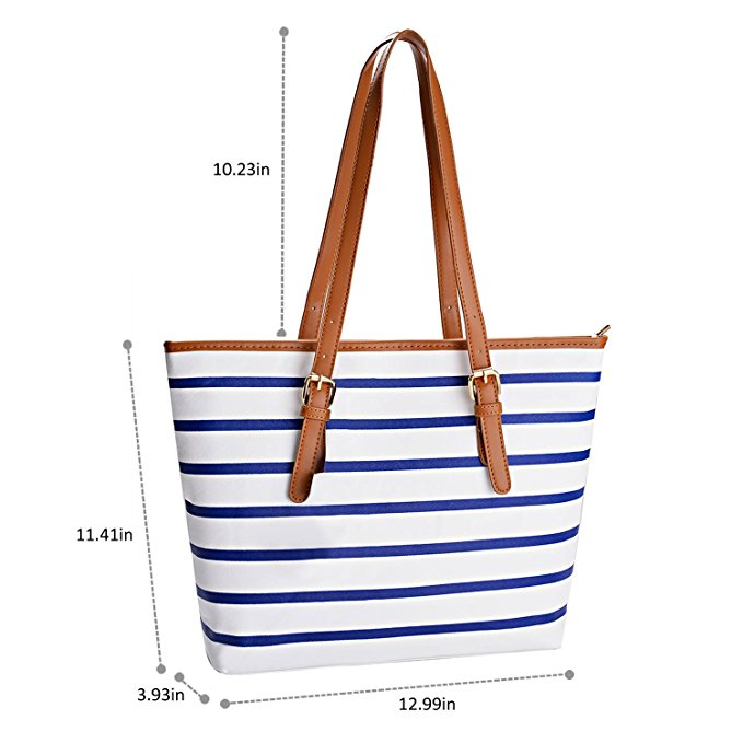 Pu Leather Stripes Tote Shoulder Bag Womens Handbags 4