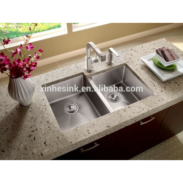 R19 American Double Bowl Stainless Steel Undermount Handmade Kitchen Sink for sale