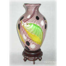 Glass Vase W/ Feathered Pattern