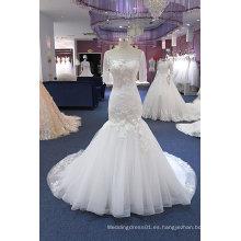 Sirena de manga corta vestido de novia