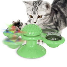 Windmill Cat Toy Cat Scratching Tickle Hair Brush Interactive Teasing Cat Toy with Catnip and LED Ball