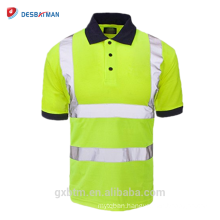 New Hi Viz Short Sleeve Safety Shirt Work Wear Navy Collar High Visibility Button Polo T-shirt With Reflective Tape