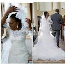 African casamento 2017 Ruffled falda musulmana mangas largas Mermaid encaje vestido de novia MW993