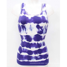 Nylon Materials Seamless Fashion Tie Dyed Ladies Vest