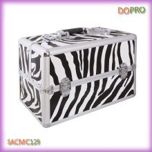Zebra Pattern Vanity Case Large Size Train Carry Make up Suitcase (SACMC129)