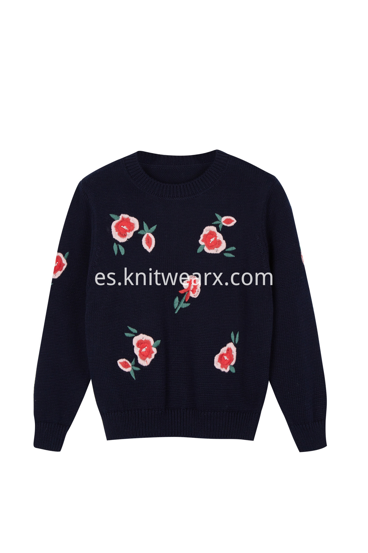 Girl's Fashion Embroidery flowers Knitted Long Sleeve Pullover Sweater