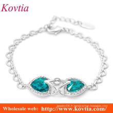 Élégant deux aquamarine coeur forme verrouillé bracelet à rayures fines
