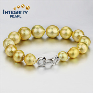 Bracelete de pérolas cultivadas de água doce de cor dourada de 10 a 13 mm AA + Round