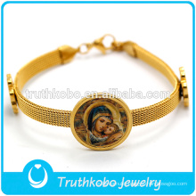 Religious Jewelry Gold Watch Band Stainless Steel Bracelet Catholic Medal Virgin Mary with Baby Jesus Bracelet