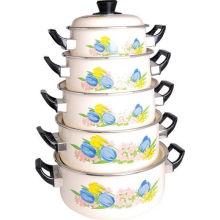 5 PCS Set Caçarola de esmalte com tampa de baquelite