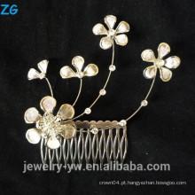 Ouro de alta qualidade banhado afortunado flor nupcial pentes pentes de cabelo elegante metal