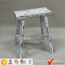 Chinese Handmade Rectangular Rustic Wooden White Stool