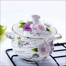 European design enamel bid body pot/soup pot with double handle