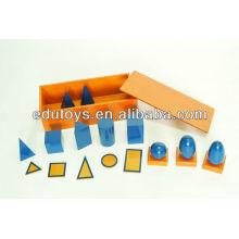 Matériaux Montessori - Solides géométriques bleus avec boîte (Beechwood)