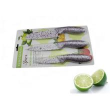 3PCS Colorful Plastic Handle Kitchen Knife Set (SE-3545)
