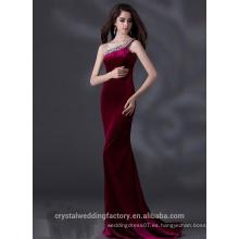Alibaba Elegante largo nuevo diseñador de un hombro de color púrpura de luz satinado vaina vestidos de noche o vestido de dama de honor LE22