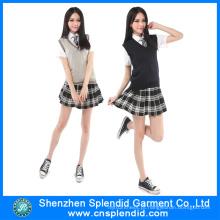 2016 New Padrões Sexy Girls School Uniform Design Saia
