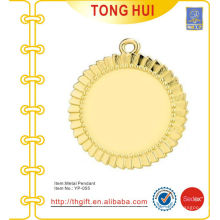 Shinny Gold Runde Platte Charme Anhänger Schlüsselanhänger Metall