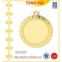 Shinny золото круглые пластины очарование подвески брелок металла
