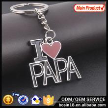 Custom Metal I Love Papa Letter Keychain for Promotion Gift
