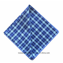Promotion Customized Checked Blue Printed Yarn Dyed Men′s Big Handkerchief