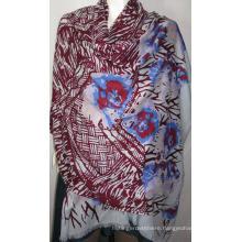 100% Wool Heringbone Shawl Print Na