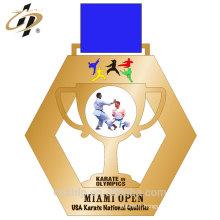 Alliage de zinc de décoration de maison moulant la médaille faite sur commande de sports en métal d'or avec le ruban