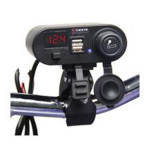 Motorcycle 3 in 1 Waterproof Cigarette Lighter/ Dual USB Charger/Voltage Meter