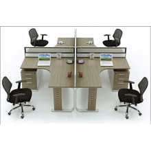 square 4 people routine office glass partition with drawer