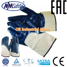 NMSAFETY oil and gas glove/nitrile coated hand work gloves/smooth nitrile coated glove