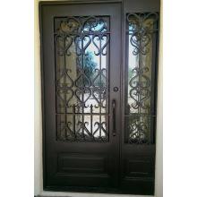 Puertas exteriores de entrada de hierro forjado con vidrio templado