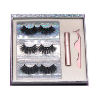 SL037H Hitomi soft natural Private Label Mink Eyelashes Fluffy 25mm Magnetic Eyelashes with Eyeliner and tweezers