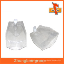 Good quality transparent spout pouch , nylon spout bag for packing water or drinks