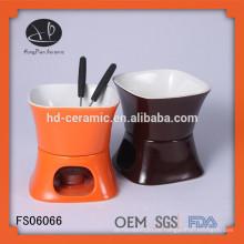 OEM Keramik Fondue Set, Steingut Fondue Set mit Gabel, Keramik Schokolade Fondue Set mit weißen Einfarbig