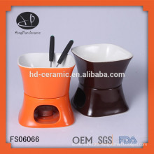oem ceramic fondue set,stoneware fondue set with fork,ceramic chocolate fondue set with white solid color
