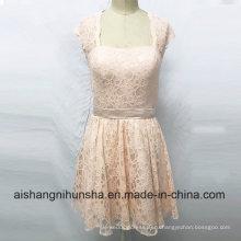 Кружева Платья Невесты Открыть Назад Короткие Длина До Колена Свадебное Платье