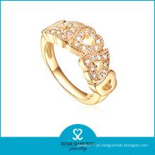 Anel da jóia da cor do ouro 925 de prata no preço de fábrica (R-0417)