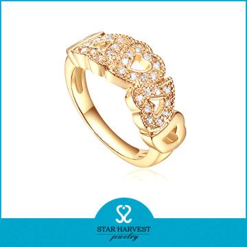 Anel de prata da jóia da cor do ouro 925 no preço de fábrica (R-0417)