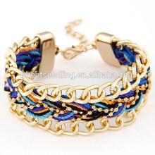Trendy jóias étnicas exagerada cadeia pulseira de couro trançado