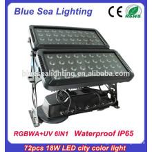 72pcs 18w 6 em 1 rgbwauv ip65 conduziu o dispositivo elétrico de iluminação impermeável ao ar livre