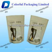 Saco de embalagem de chá personalizado com ver através da janela / Stand up ziplock saco de embalagem de chá
