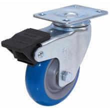 Roulette pivotante PU avec double frein (bleu)