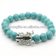 Bracelet en pierres précieuses en pierres rondes et turquoise 8mm avec morceau de grenouille en alliage diamant