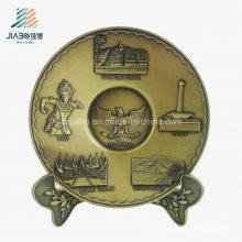 Лучшие продажи цинковый сплав, литье 3D матовый Золотой металлический лоток для сувенира