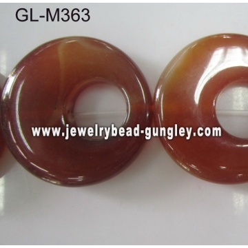 Boucle ronde forme Agate rouge perle